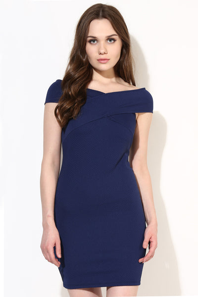 Navy Blue Textured Bandage Bardot Dress
