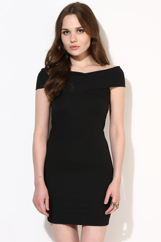 Black Textured Bandage Bardot Dress