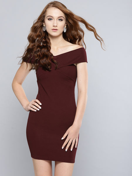 Maroon Bandage Bardot Bodycon Dress1
