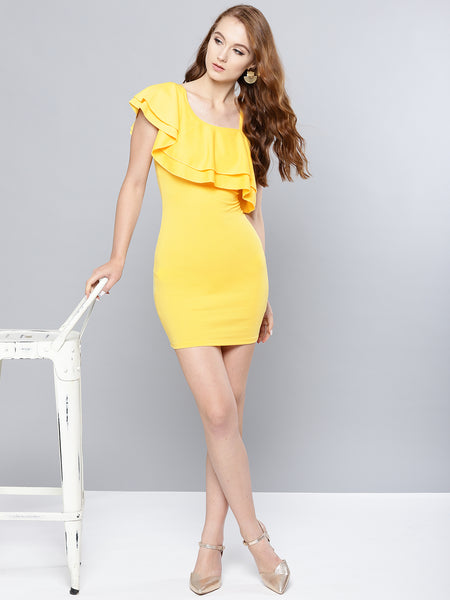Yellow One Shoulder Frilled Bodycon Dress1