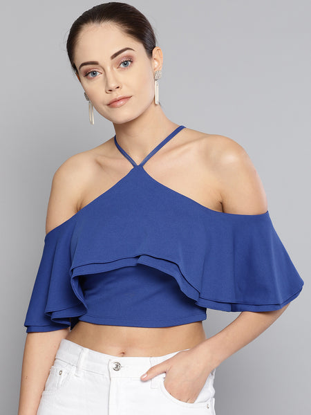 Blue Layered Frill Cold Shoulder Top1
