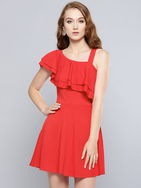Red One Shoulder Frilled Skater Dress1
