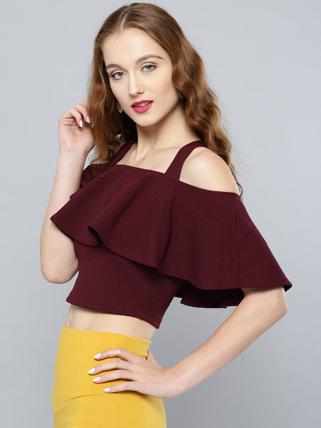 Maroon Frilled Strappy Crop Top1
