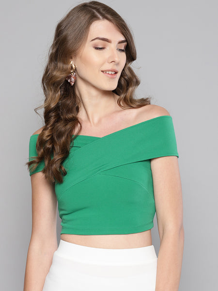 Green Bandage Bardot Crop Top1