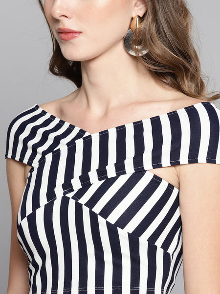 Navy Stripe Bandage Bardot Crop Top1