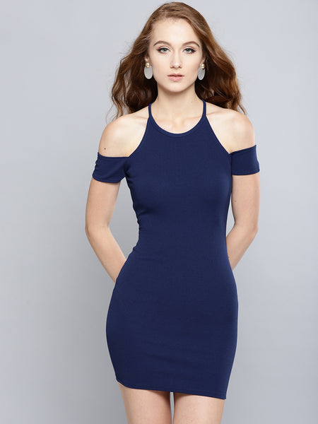 Navy Blue Cold Shoulder Bodycon Dress1