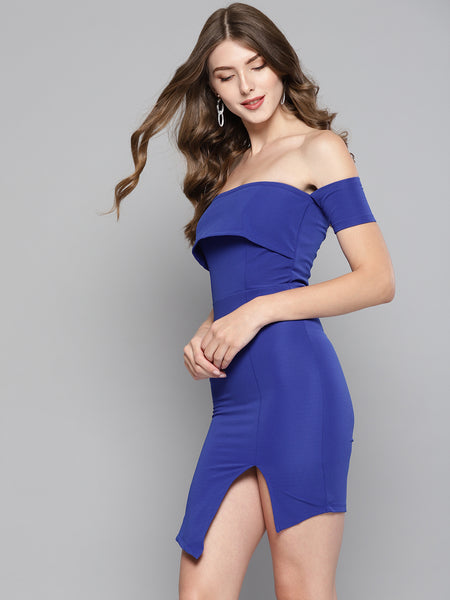 Royal Blue Slit Bardot Dress1