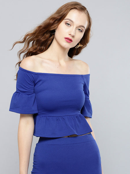 Royal Blue Frilled Bardot Crop Top1
