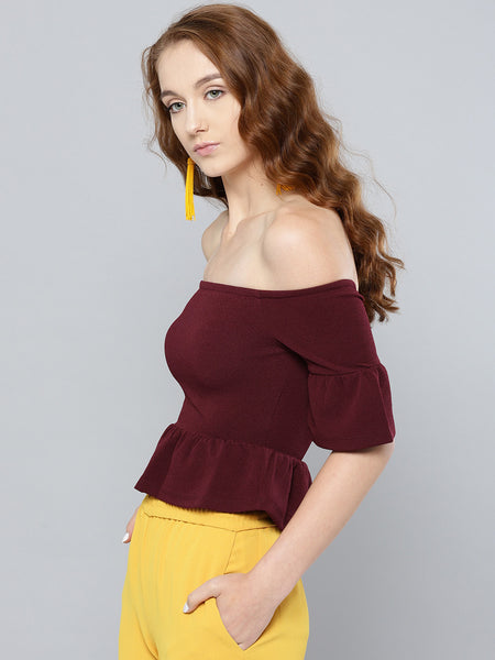Maroon Frilled Bardot Crop Top1