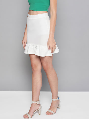 Off White Frilled Bottom Bodycon Skirt1
