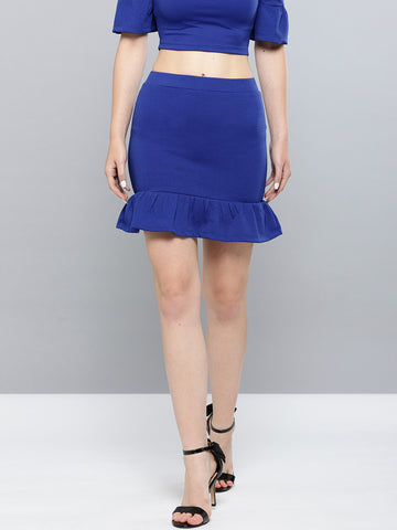 Royal Blue Frilled Bottom Bodycon Skirt1