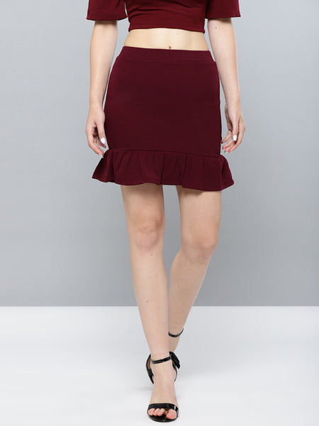 Maroon Frilled Bottom Bodycon Skirt1
