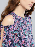 Navy Blue and Purple Paisley Slit Sleeve Cold Shoulder Top3