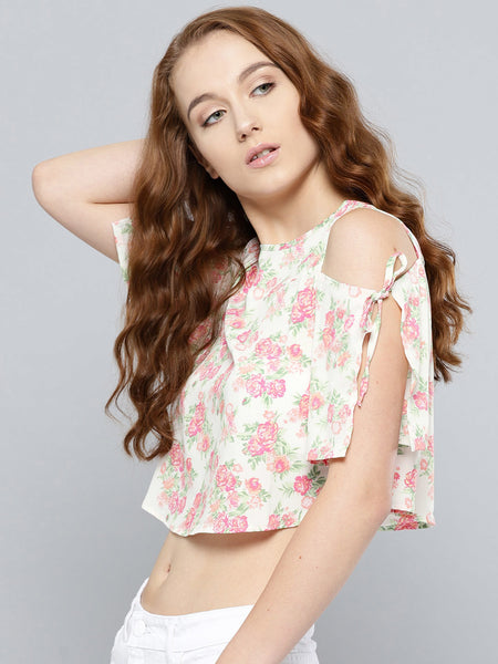 Beige and Rose Floral Slit Sleeve Cold Shoulder Top1