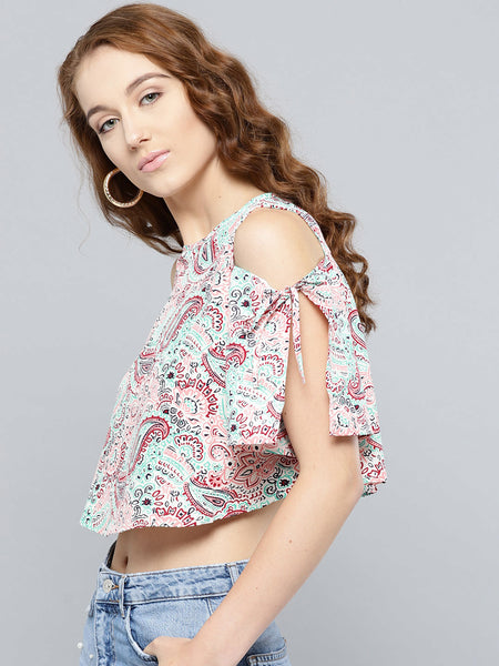 Beige and Peach Paisley Slit Sleeve Cold Shoulder Top1
