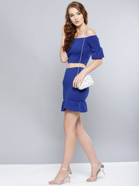 Royal Blue Frilled Co-ordinate Dress1