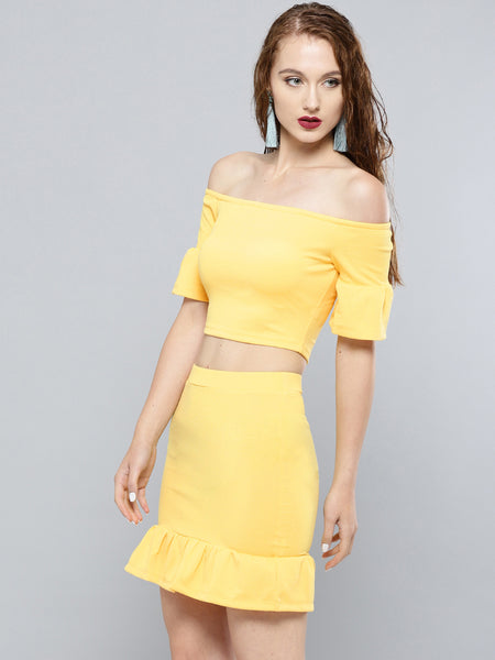Yellow Frilled Co-ordinate Dress1