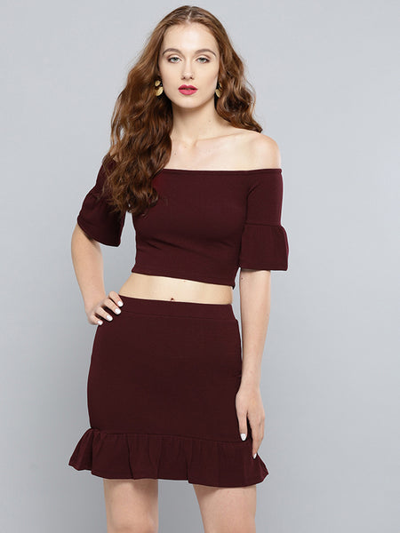Maroon Frilled Co-ordinate Dress1
