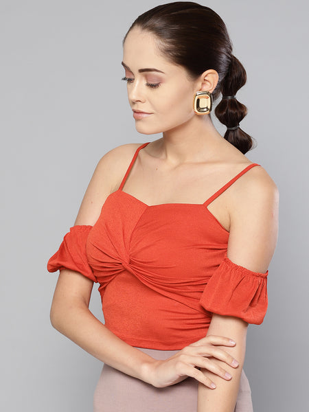Red Front Twist Puffed Sleeve Top1