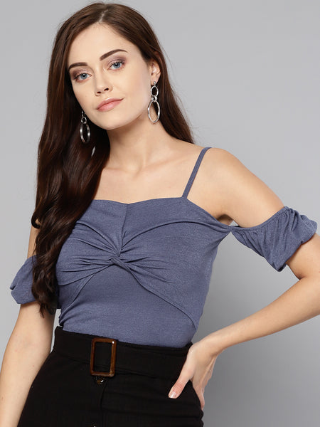 Indigo Front Twist Puffed Sleeve Top1