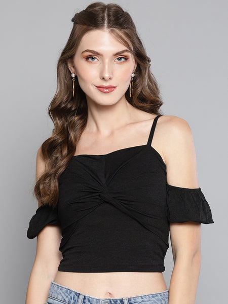 Black Front Twist Puffed Sleeve Top1