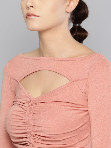 Salmon Peek-A-Boo Full Sleeve Top1