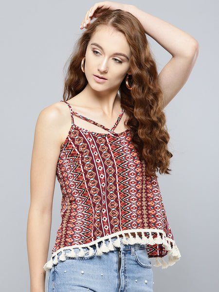 Maroon Ikat Print Boho Swing Top with Lace Hem1