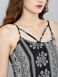 Black and White Paisley Boho Swing Top with Lace Hem4