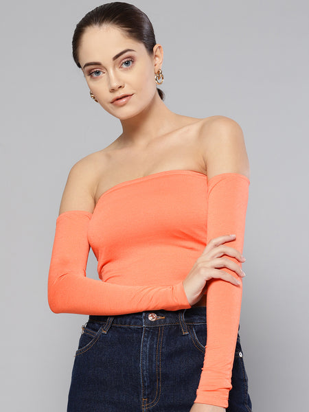 Peach Tube Full Sleeve Top1
