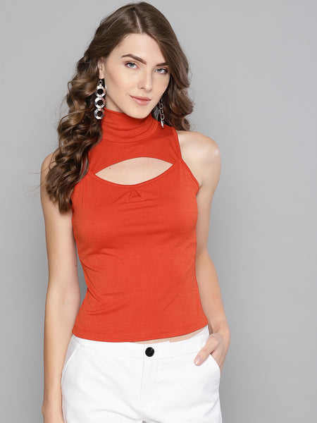 Red High Neck Keyhole Top1