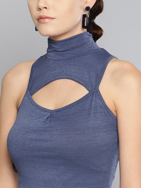 Indigo High Neck Keyhole Top1