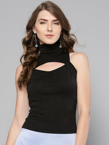 Black High Neck Keyhole Top1