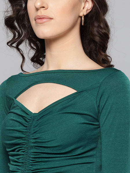 Dark Green Peek-A-Boo Full Sleeve Top1