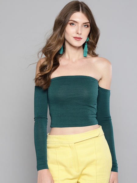 Dark Green Tube Full Sleeve Top1