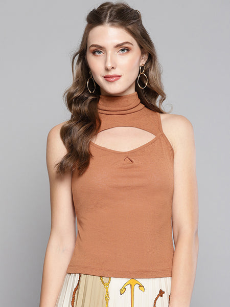Brown High Neck Keyhole Top1