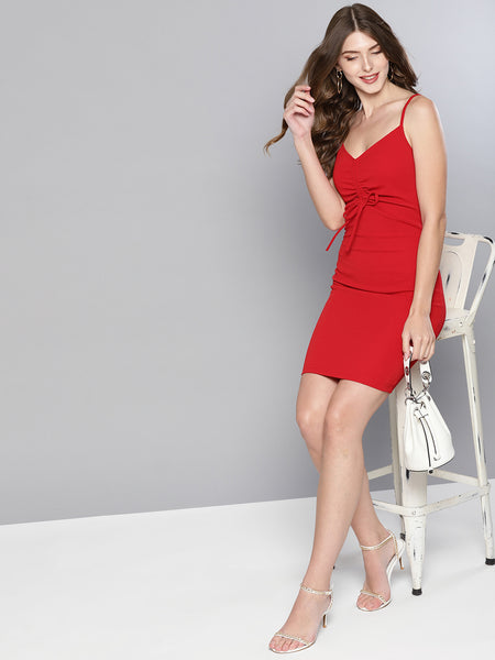Red Rouched Bust Dress1