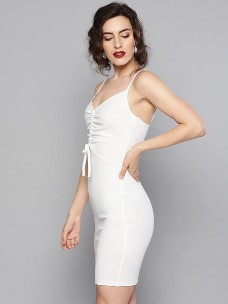 White Rouched Bust Dress1