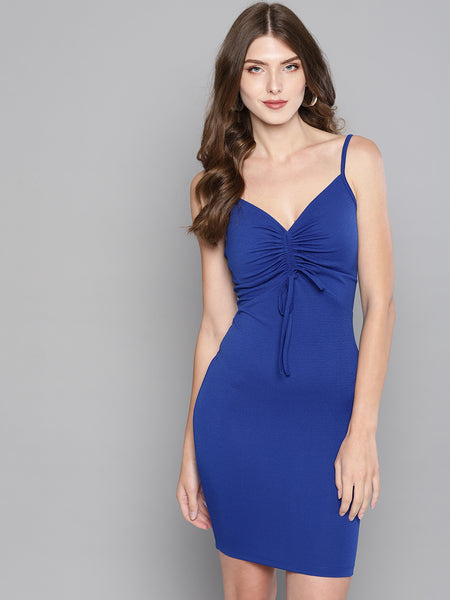 Royal Blue Rouched Bust Dress1