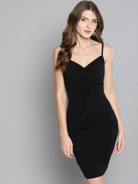Black Rouched Bust Dress1