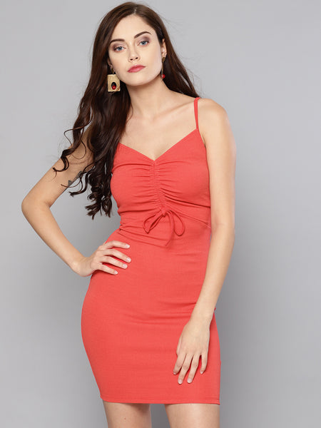 Coral Rouched Bust Dress1