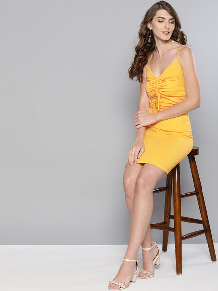 Yellow Rouched Bust Dress1