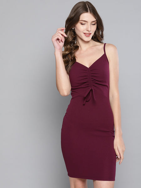 Maroon Rouched Bust Dress1