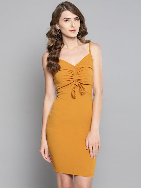 Mustard Rouched Bust Dress1