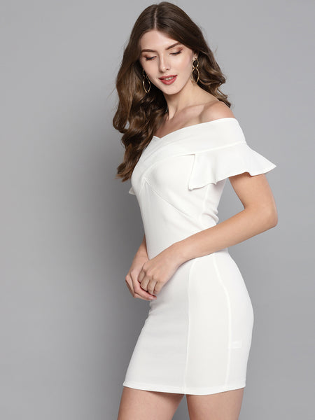 White Frilled Bandage Bardot Bodycon Dress1