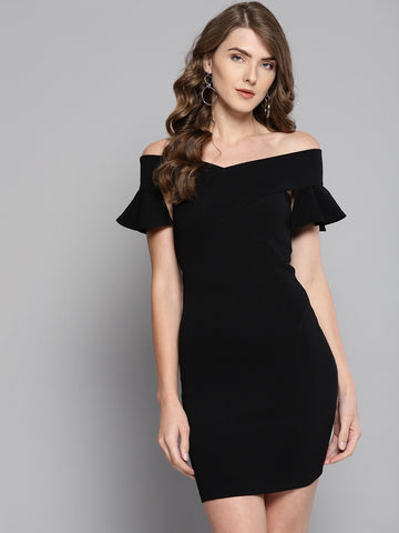 Black Frilled Bandage Bardot Bodycon Dress1