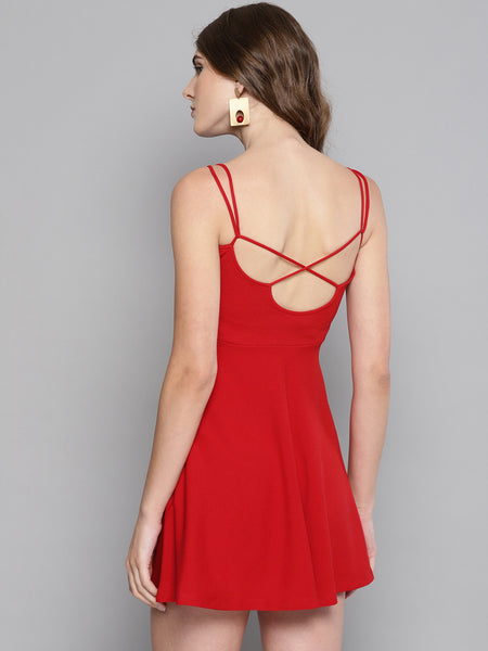 Red String Back Skater Dress1