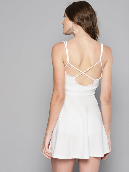 White String Back Skater Dress1