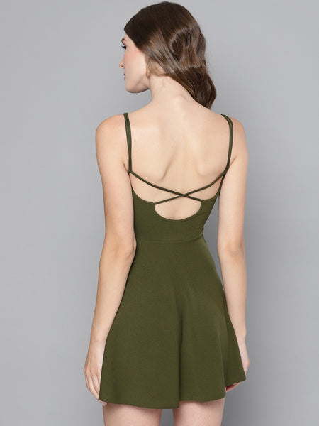 Olive String Back Skater Dress1
