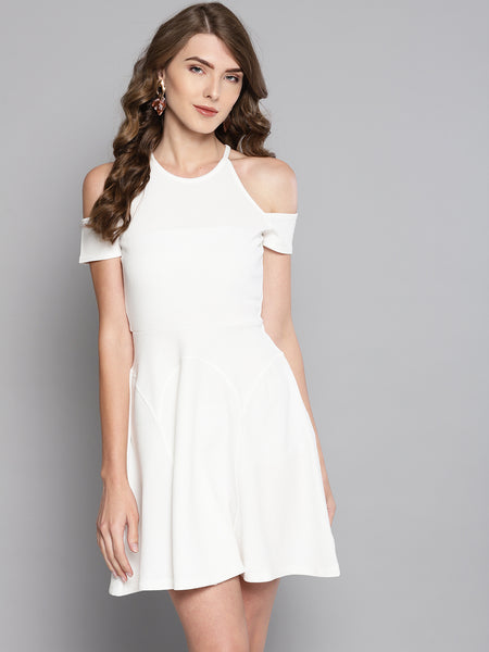 White Cold Shoulder Skater Dress1