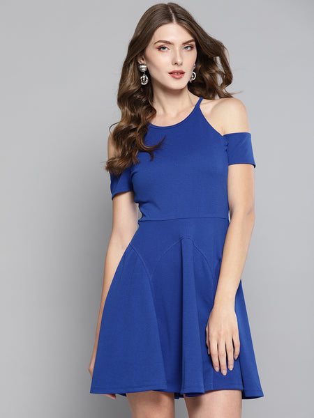 Royal Blue Cold Shoulder Skater Dress1